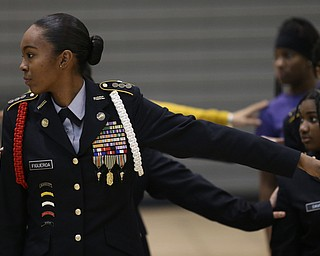 Cadet Cpt. Rosezena Figueroa spaces herself apart from the other cadets during a J.R.O.T.C drill practice, Thursday, Nov. 16, 2017, at East High School in Youngstown...(Nikos Frazier | The Vindicator)