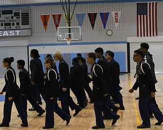 The cadets march during a J.R.O.T.C drill practice, Thursday, Nov. 16, 2017, at East High School in Youngstown...(Nikos Frazier | The Vindicator)