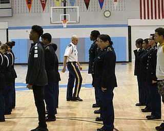U.S. Army Maj. Brian Dugan(Ret.) during a J.R.O.T.C drill practice, Thursday, Nov. 16, 2017, at East High School in Youngstown...(Nikos Frazier | The Vindicator)