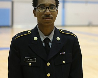 Cadet Wynn poses for a photo during a J.R.O.T.C drill practice, Thursday, Nov. 16, 2017, at East High School in Youngstown...(Nikos Frazier | The Vindicator)