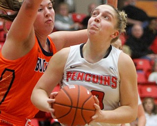 William D. Lewis the Vindicator  YSU's Anne Secrest(50) shoots over Bucknell's Kaitlyn Slagus(50) during 11-24-17 action at YSU.