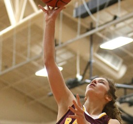 South Range's Brooke Sauerwein (20) goes up for a layup during the first quarter of the Toni Ross Spirit Foundation basketball tournament, Saturday, Nov. 25, 2017, at Howland High School in Howland. South Range won 55-51...(Nikos Frazier | The Vindicator)..