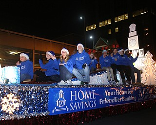 The Home Savings float during the annual Youngstown Christmas Parade and Tree lighting, Friday, Dec. 1, 2017, in downtown Youngstown...(Nikos Frazier | The Vindicator)