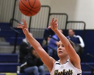 Lowellville's Maddie Warren (32) goes up for three during the third quarter as Mineral Ridge High School takes on Lowellville High School, Monday, Dec. 4, 2017, at Lowellville High School in Lowellville. Mineral Ridge won 45-33...(Nikos Frazier | The Vindicator)..