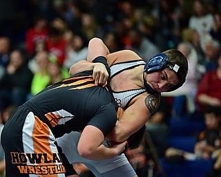 AUSTINTOWN, OHIO - DECEMBER 21, 2017: Boardman's Devon Blazek attempts to throw Howland's Dominic Sanabria during their 152lb bout, Thursday night at Austintown Fitch High School. DAVID DERMER | THE VINDICATOR