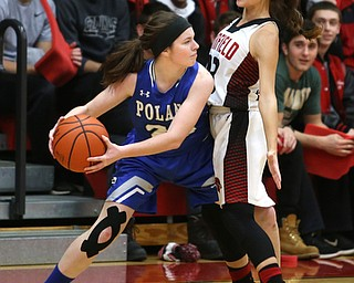 Canfield guard Ashley Veneroso (23) blocks out Poland guard Marlie McConnell (20) in the first quarter of an AAC high school basketball game, Friday, Dec. 23, 2017, in Canfield. Canfield won 45-34...(Nikos Frazier | The Vindicator)