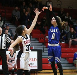 Poland guard Bella Gajdos (0) goes up for three in the second quarter of an AAC high school basketball game, Friday, Dec. 23, 2017, in Canfield. Canfield won 45-34...(Nikos Frazier | The Vindicator)
