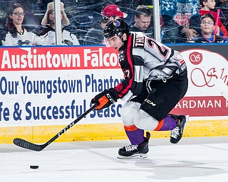 Scott R. Galvin | The Vindicator.Youngstown Phantoms left wing Matthew Thomson (27) skates the puck toward the net against the Madison Capitols during the first period on Friday, Dec. 29, 2017 at the Covelli Centre.  The Phantoms lost 4-1.