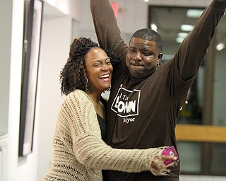 William D. Lewis the vindicator  Tito Brown and his wife Lynette Brown react to news he won mayoral primary. They at a  party at Jewish Community Center.