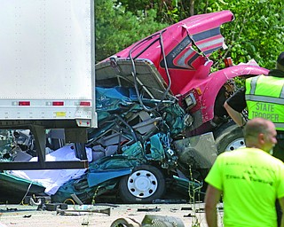 ROBERT  K. YOSAY | THE VINDICATOR..hed: Thu, June 29, 2017 @ 1:20 p.m...NORTH JACKSON Ñ One person died in a five-vehicle crash on Interstate 76 westbound in a construction zone near the st rt 45  overpass...The accident also left four other people injured, three of them seriously, the Ohio State Highway Patrol says...