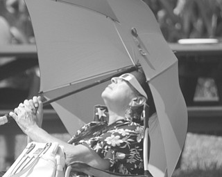 ROBERT K. YOSAY  | THE VINDICATOR..80 %  Eclipse... at  Canfield Metroparks Farm.. had a huge crowd trying to catch a glimpse using boxes paper plates and telescopes as well as the 'safe glasses'.Shirley Matyi of Austintown.. had her umbrella and glasses as she watch the eclipse
