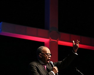 Bishop Joseph Garlington of Pittsburgh speaks during the Meet Me at the Cross event at The Covelli Centre, Friday, April 14, 2017 in Youngstown. ..(Nikos Frazier | The Vindicator)..