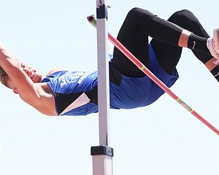 Seth Stokes of Lisbon watches as his feet drag the bar causing him to place second as he competes in the DIII boys high jump final during the 2017 OHSAA Boys and Girls State Track and Field Tournaments, Friday, June 2, 2017 at the Jesse Owens Memorial Stadium in Columbus...(Nikos Frazier | The Vindicator)