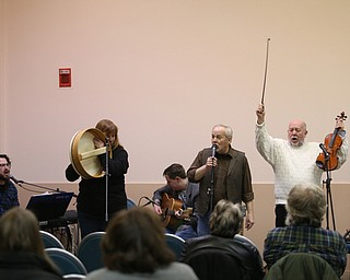 County Mayo performs during First Night Youngstown, Sunday, Dec. 31, 2017, at The Steel Museum in Youngstown. ..from left, Brad Campbell, marcy Meiers, Jack Lewis, Ted Miller and Bill Lewis..(Nikos Frazier | The Vindicator)