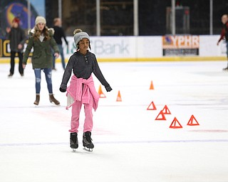 Briah McArthur(10) of Austintown ice skates during First Night Youngstown, Sunday, Dec. 31, 2017, at the Covelli Centre in Youngstown. ..(Nikos Frazier | The Vindicator)