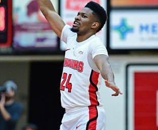 YOUNGSTOWN, OHIO - JANUARY 4, 2017: Youngstown State's Cameron Morse celebrates after hitting a three point shot during the first half of their game, Thursday night at Beeghly Center. DAVID DERMER | THE VINDICATOR