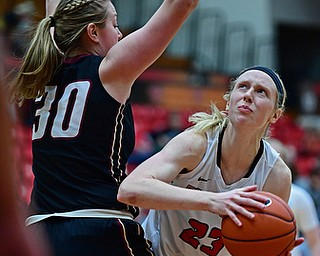 YOUNGSTOWN, OHIO - JANUARY 6, 2017: Youngstown State's Sarah Cash goes to the basket against IUPUI's Morgan Allen during the second half of their game, Saturday afternoon at Beeghly Center. IUPUI won 65-43. DAVID DERMER | THE VINDICATOR