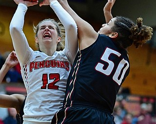 YOUNGSTOWN, OHIO - JANUARY 6, 2017: Youngstown State's Chelsea Olsen has her shot blocked by IUPUI's Macee Williams during the second half of their game, Saturday afternoon at Beeghly Center. IUPUI won 65-43. DAVID DERMER | THE VINDICATOR