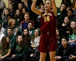 Cardinal Mooney Camden Hergenrather (14) goes up for three in the first quarter of an OSHAA basketball game, Thursday, Feb. 1, 2018, in Youngstown. Ursuline won 76-54...(Nikos Frazier | The Vindicator)