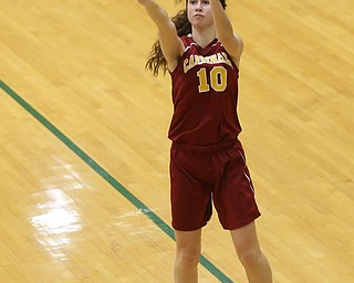 Cardinal Mooney Carolyn Kay (10) goes up for three in the fourth quarter of an OSHAA basketball game, Thursday, Feb. 1, 2018, in Youngstown. Ursuline won 76-54...(Nikos Frazier | The Vindicator)