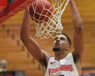 WilliamD. Lewis The Vindicator YSU's Devin Haygood(2) dunks during 2-1-18 action at YSU.
