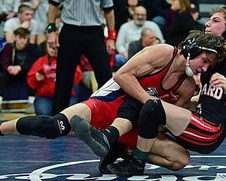 AUSTINTOWN, OHIO - FEBRUARY 3, 2018: Fitch's Gus Sutton takes down Girard's Alex Delgarbino during their 126lb EOWL Championship bout, Saturday night at Austintown Fitch High School. DAVID DERMER   THE VINDICATOR