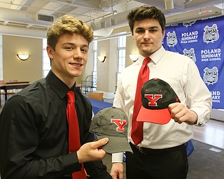 ROBERT K.YOSAY  | THE VINDICATOR..Two YSU recruits....  Jonah  Spencer  Nick Diaz Poland Signing Day.. as 6 players from the class of 2018 head off to college ball..L-R   Nick Sabrin - Dante Ruozzo- Jonah Spencer - Mike Diaz Drew Davies and Cole Lavorini at podium is Brian Banfield......-30-