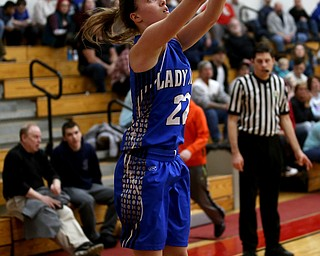 Jackson-Milton guard Michaelina Terranova (22) goes up for two tying her school record for most career point in the third quarter of an OHSAA high school basketball game, Thursday, Feb. 8, 2018, in Columbiana. Columbiana won 36-23...(Nikos Frazier | The Vindicator)