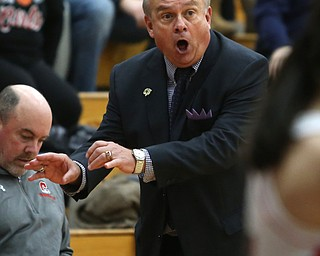 Columbiana head coach Ron Moschella yells at his players for being too slow in the fourth quarter of an OHSAA high school basketball game, Thursday, Feb. 8, 2018, in Columbiana. Columbiana won 36-23...(Nikos Frazier | The Vindicator)