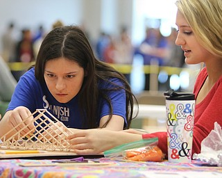 ROBERT K.YOSAY  | THE VINDICATOR..Kenna Tintler 11th  and Lillian Kish  11th..Bridge building in a A few hundred Hubbard High School students spent Friday at the schoolÕs STEM Festival where they put their creativity and STEM knowledge to the test. Students could choose to participate in contests including bridge building, creating and testing a trebuchet and an egg drop...-30-