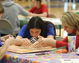 ROBERT K.YOSAY  | THE VINDICATOR..Adria Powell 11 Kenna Tintler 11th  and Lillian Kish  11th..Bridge building in a A few hundred Hubbard High School students spent Friday at the schoolÕs STEM Festival where they put their creativity and STEM knowledge to the test. Students could choose to participate in contests including bridge building, creating and testing a trebuchet and an egg drop...-30-