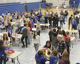 ROBERT K.YOSAY  | THE VINDICATOR..A few hundred Hubbard High School students spent Friday at the schoolÕs STEM Festival where they put their creativity and STEM knowledge to the test. Students could choose to participate in contests including bridge building, creating and testing a trebuchet and an egg drop...-30-
