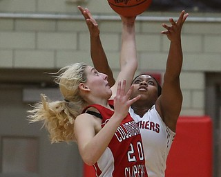Columbiana's Alexis Cross (20) intercepts the pass intended for Struthers' Khaylah Brown (1)  in the second quarter of an OHSAA high school basketball game, Monday, Feb. 12, 2018, in Struthers. Struthers won 61-52...(Nikos Frazier | The Vindicator)