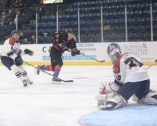 Youngstown Phantoms forward Samuel Salonen (71) scores a goal past Central Illinois Flying Aces goalie Ryan Snowden (30)  as Central Illinois Flying Aces defenseman Corson Green (9) in the second period of an USHL hockey game, Tuesday, Feb. 13, 2018, in Youngstown...(Nikos Frazier | The Vindicator)