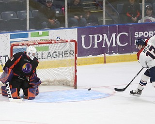 Central Illinois Flying Aces left wing Calen Kiefiuk (13)  scores a goal past Youngstown Phantoms goalie Wouter Peeters (36) in the second period of an USHL hockey game, Tuesday, Feb. 13, 2018, in Youngstown...(Nikos Frazier | The Vindicator)