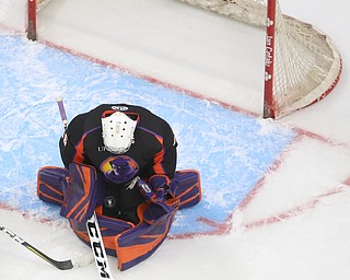 Youngstown Phantoms goalie Wouter Peeters (36) blocks a shot on goal in the second period of an USHL hockey game, Tuesday, Feb. 13, 2018, in Youngstown...(Nikos Frazier | The Vindicator)