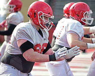 YOUNGSTOWN, OHIO - FEBRUARY 18, 2018: Youngstown State's Connor Sharp sets up to block during during individual drills during the teams practice on Sunday afternoon at Stambaugh Stadium. DAVID DERMER | THE VINDICATOR