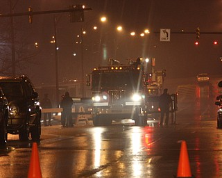 Fire Trucks formed an Arch for Champ to cross under to Chevy Center
