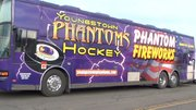Brad Patterson, Bart Logan, and Ed Williams give viewers a tour of the Phantoms bus before they embark on a weekend long road trip.