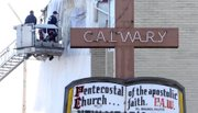 A Saturday fire forced Mt. Calvary Church to move Sunday services to nearby New Bethel Baptist.