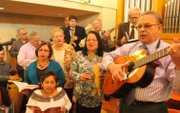 A group of local musicians make a joyful sound.
