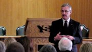 YSU presidential candidate Jim Tressel says for YSU the sky is limit.