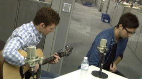 """Jackie Popovec, John Anthony, and Nick Sainato of the rising local band """"The Vindys"""" do an acoustic performance of their song """"You'll Never Know""""."""