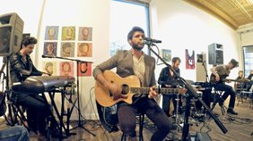 "JD Eicher performs the song ""Aaron"" at the Soap Gallery for ""The Middle Distance"" album release party."