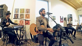 "JD Eicher performs the song ""The Little Bit"" at the Soap Gallery for ""The Middle Distance"" album release party."