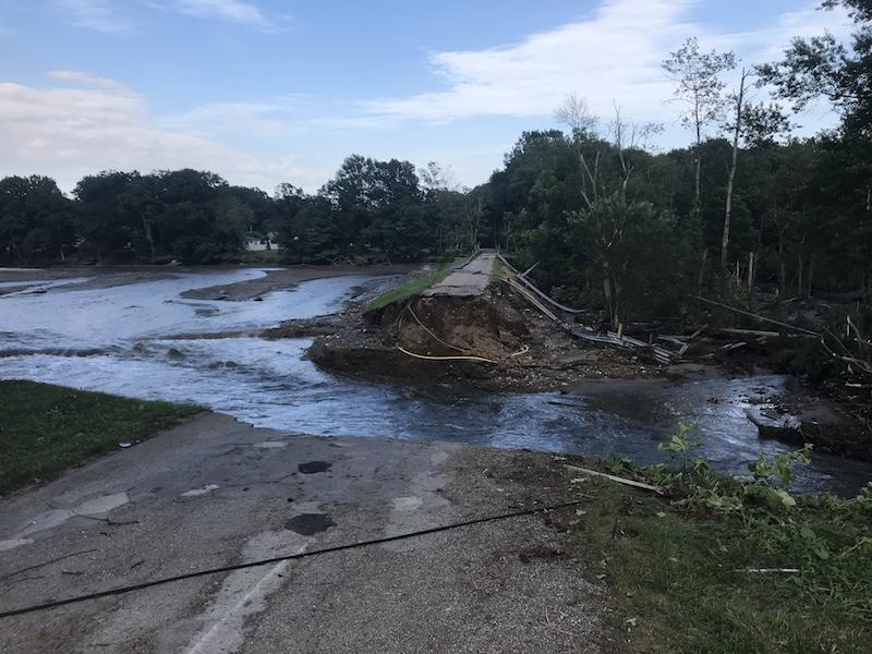 Kinsman residents stranded after dam overflows