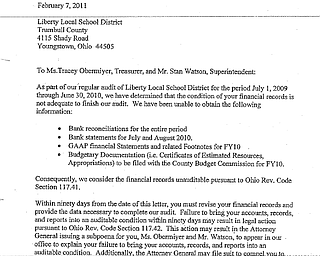 Liberty LSD Auditor of State Letter
