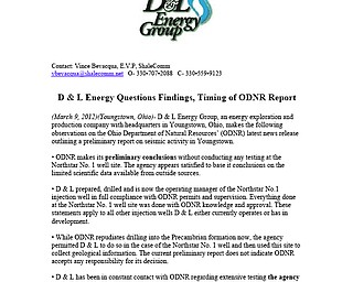 D & L Energy Questions Findings, Timing of ODNR Report
