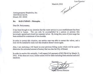 Metroplex Water Service Letter