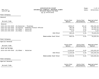 2012 Springfield Twp Salary Report